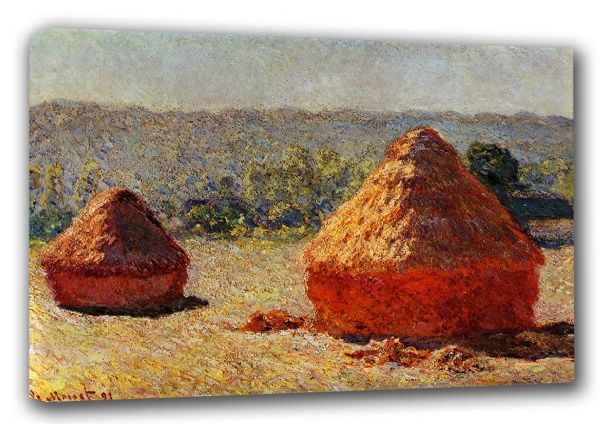 Monet, Claude: Haystacks, End of Summer, Morning. Fine Art Canvas. Sizes: A3/A2/A1 (00128)